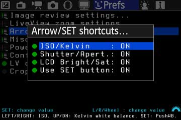 Arrow/SET shortcuts