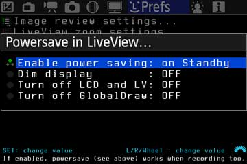 Powersave in LiveView